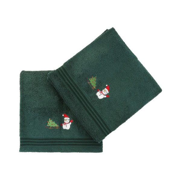 Sada 2 zelených vianočných uterákov Snowy, 70x140 cm