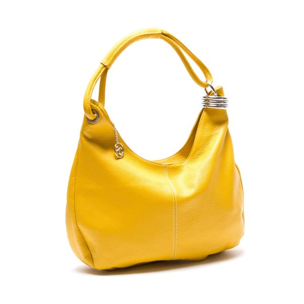 Kožená kabelka Hobo, žlutá