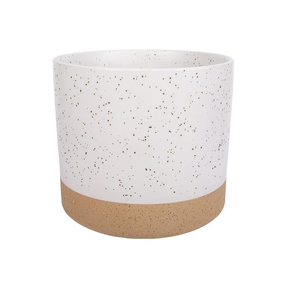 Produktové foto Bílo-hnědý keramický květináč Vox Caps, výška 14 cm