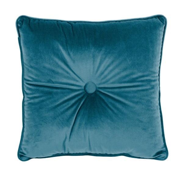Turkusowa poduszka Tiseco Home Studio Velvet Button, 45x45 cm