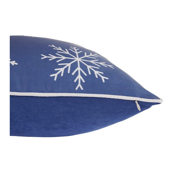 Modrý povlak na polštář s vánočním motivem Apolena Honey Snowflakes, 45 x 45 cm