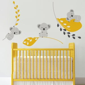 Samolepka na stěnu Spící koaly, žlutá - 2 archy, 70x50 cm