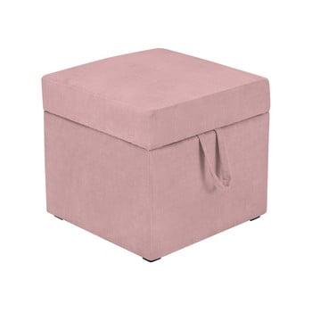 Taburet cu spațiu pentru depozitare KICOTI Cube, roz de la KICOTI