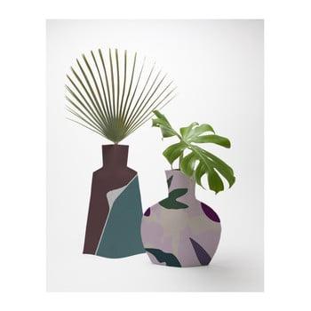 Set 2 vaze Surdic Flower Vases Lilac Color Blocks de la Surdic