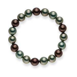 Perlový náramek Mystic Green Grey, 20 cm