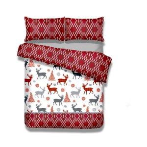 Flanelové povlečení na jednolůžko AmeliaHome Winter Reindeer, 155x220cm