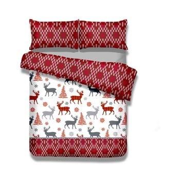Lenjerie de pat din flanel AmeliaHome Winter Reindeer, 200 x 220 cm + 70 x 80 cm de la AmeliaHome