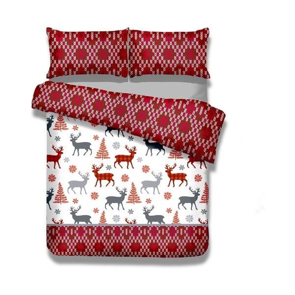 Lenjerie de pat din flanel AmeliaHome Winter Reindeer, 200 x 220 cm + 70 x 80 cm