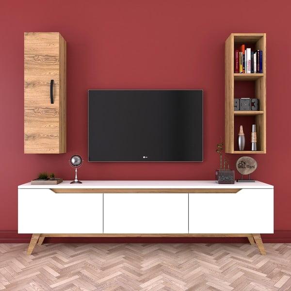 Zestaw białej szafki pod TV, półki i szafki w dekorze drewna orzechowego Wren