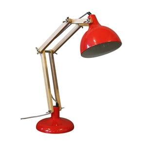 Červená stolní lampa z borovicového dřeva a kovu Red Cartel Archi