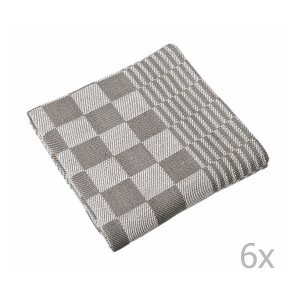 Sada 6 šedých utěrek Tiseco Home Studio Mineur, 65 x 65 cm