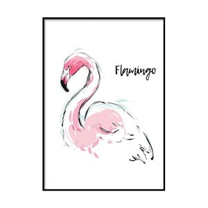 Plakát DecoKing Flamingo Aquarelle, 50 x 40 cm