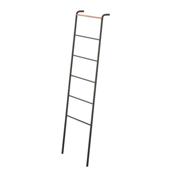 Čierny dekoratívny rebrík s detailom z bukového dreva YAMAZAKI Tower Ladder