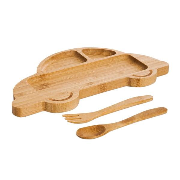 Set pentru copii cu platou și tacâmuri din lemn Bambum Auto