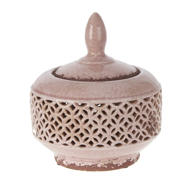 Keramická miska s krytem, 21,5 cm, růžová