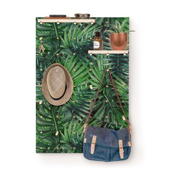 Nástěnka s poličkami z borovicového dřeva Surdic Pegboard Tropical Leafes