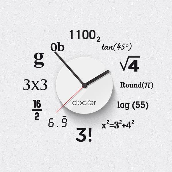 Hodiny se samolepkou Math, bílý ciferník