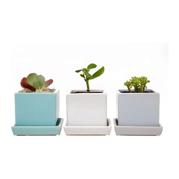 Květináče Cubes & Saucer, mint, 3 ks