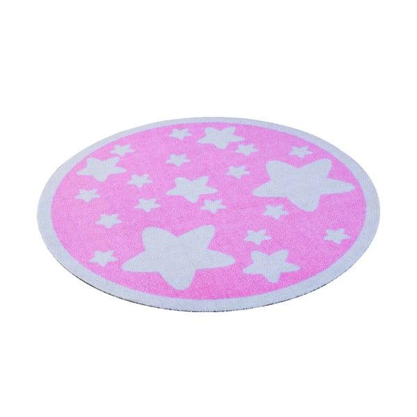 Dětský růžový koberec Hanse Home Hvězdy, ⌀100cm