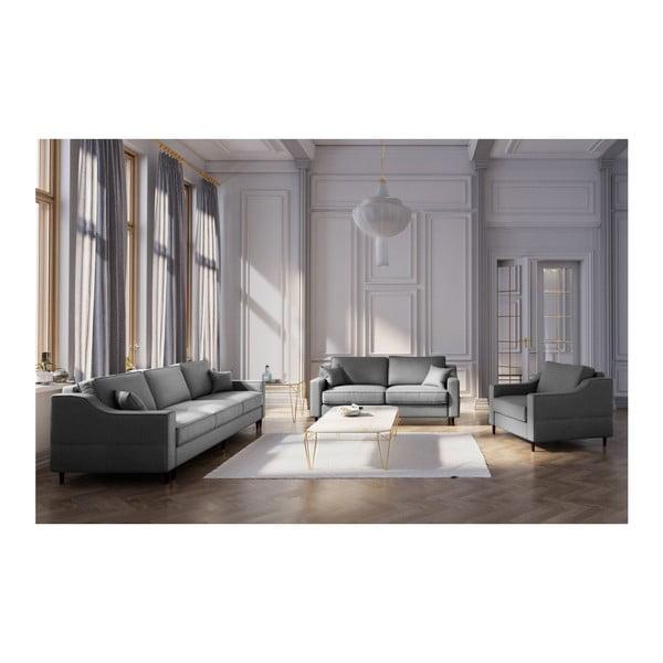 Tmavě šedá třímístná rozkládací pohovka s úložným prostorem Mazzini Sofas Narcisse