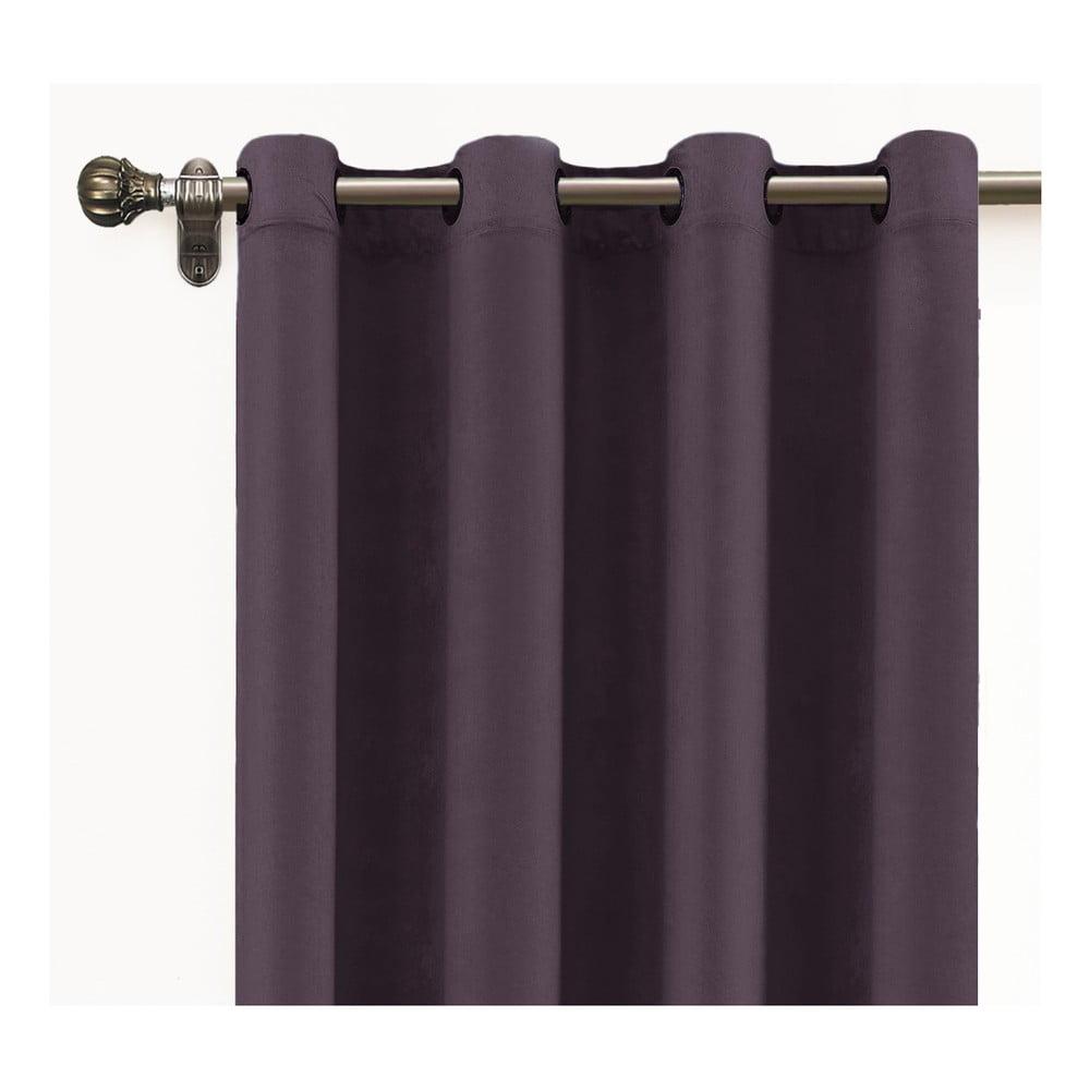 Tmavě fialový závěs ze sametu Velvet Atelier, 140 x 260 cm