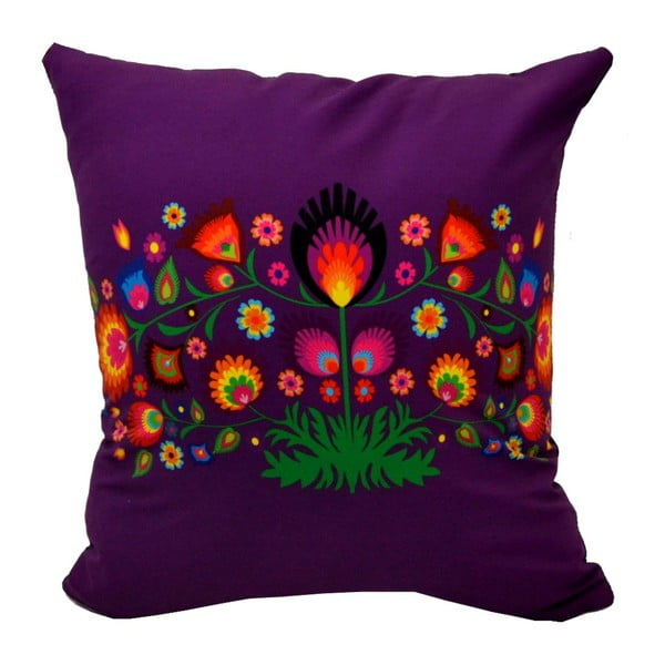 Polštář s náplní Violet Folk Grass, 40x40 cm