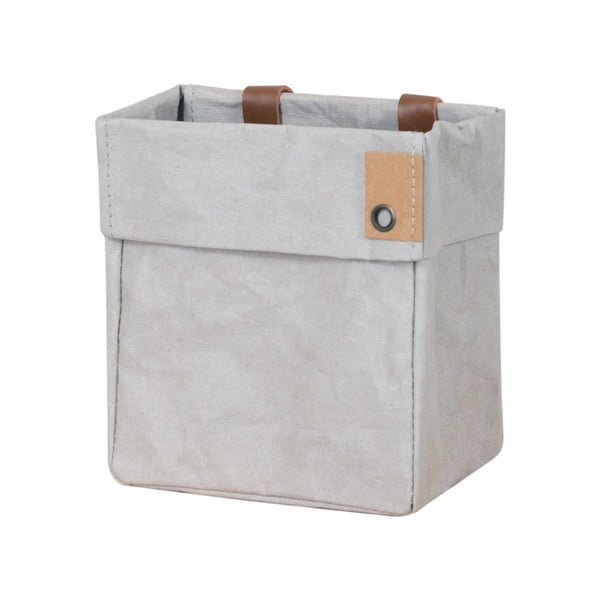 Coș de depozitare din hârtie lavabilă și piele Furniteam Home, gri