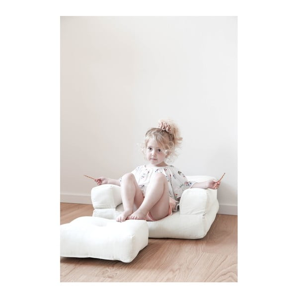 Přírodní dětské rozkládací křesílko s taburetkou Karup Mini Cube