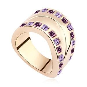 Pozlacený prsten s fialovými krystaly Swarovski Josephine, velikost 52