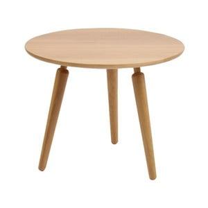 Přírodní konferenční stolek z dubového dřeva Folke Cappuccino, výška 50cmx∅60cm
