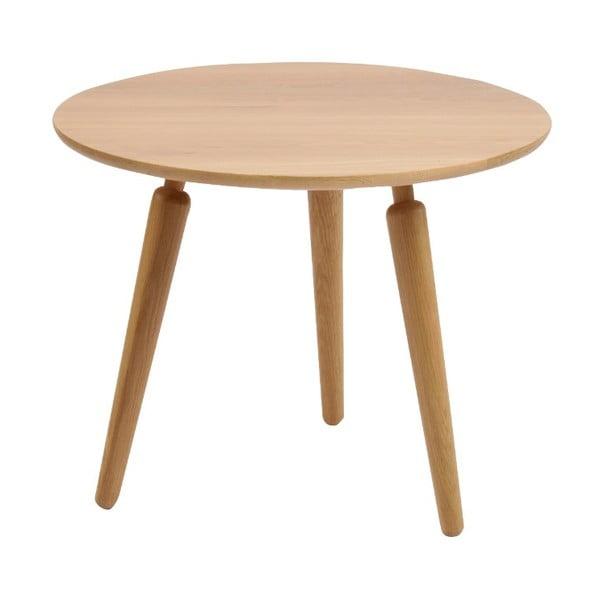 Masă cafea din lemn de stejar Folke Cappuccino, înălțime 50cmx∅60cm