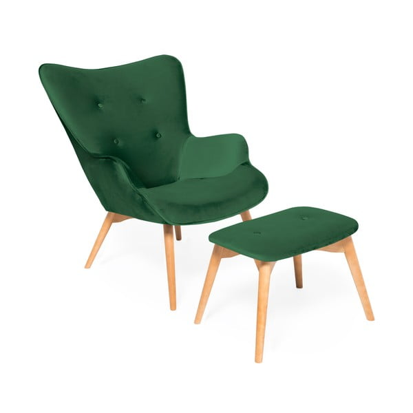 Szmaragdowy fotel z podnóżkiem i nogami w naturalnym kolorze Vivonita Cora Velvet