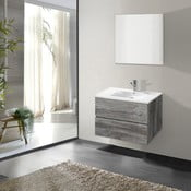 Koupelnová skříňka s umyvadlem a zrcadlem Flopy, vintage dekor, 60 cm