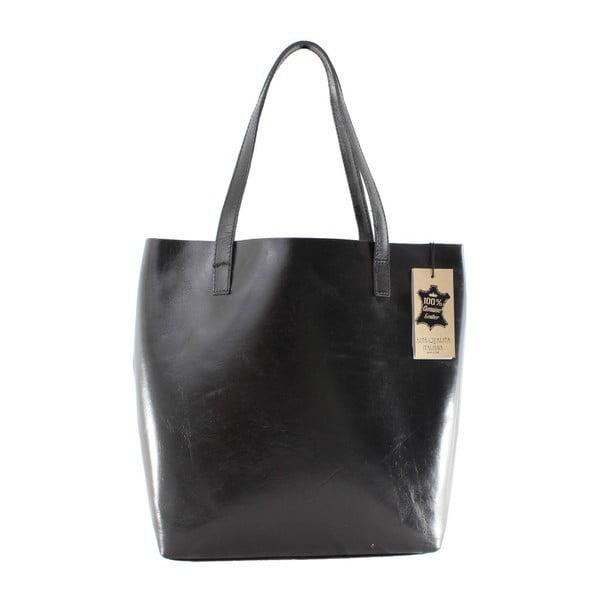 Černá kožená kabelka Chicca Borse Greta