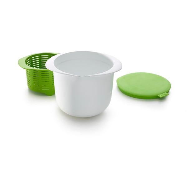 Bílo-zelená silikonová miska na přípravu domácího sýru Lékué Cheese