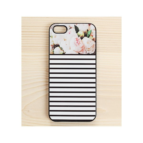 Obal na iPhone 5, Peonies Stripes in Black