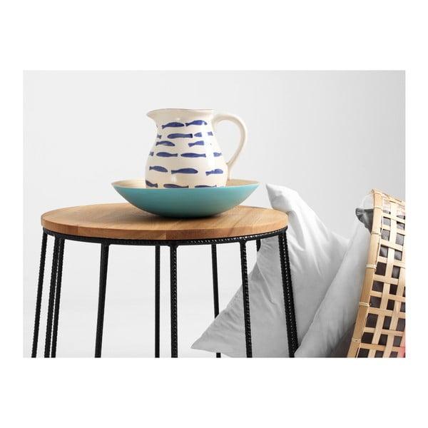 Măsuță de cafea cu blat din lemn de stejar Custom Form Memo, ⌀ 50 cm, negru-natural