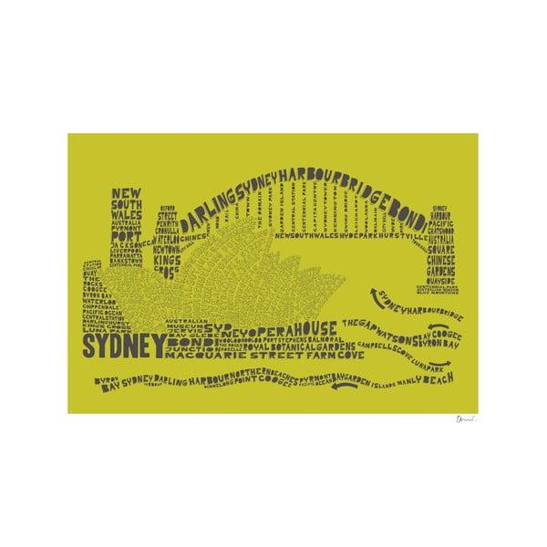 Plakát Sydney Green&Grey, 50x70 cm