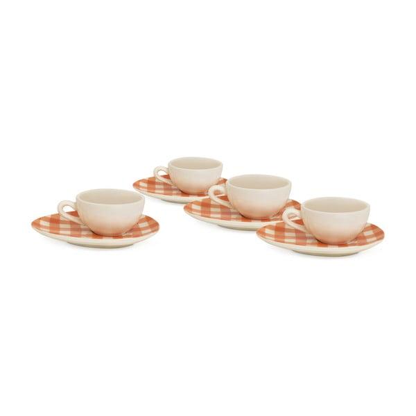 Sada 4 hrnků na espresso od Nigelly Lawson Gingham Orange