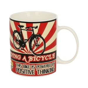 Červeno-bílý porcelánový hrnek Duo Gift Bicycle, 430 ml