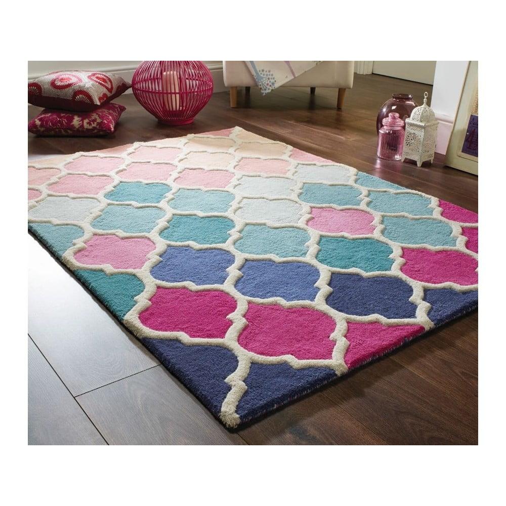 Modro-růžový vlněný koberec Flair Rugs Rosella, 80 x 150 cm