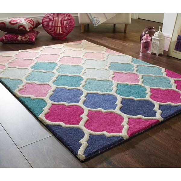 Modro-růžový vlněný koberec Flair Rugs Rosella, 160x230cm