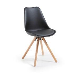 Černá jídelní židle s dřevěnými nohami loomi.design
