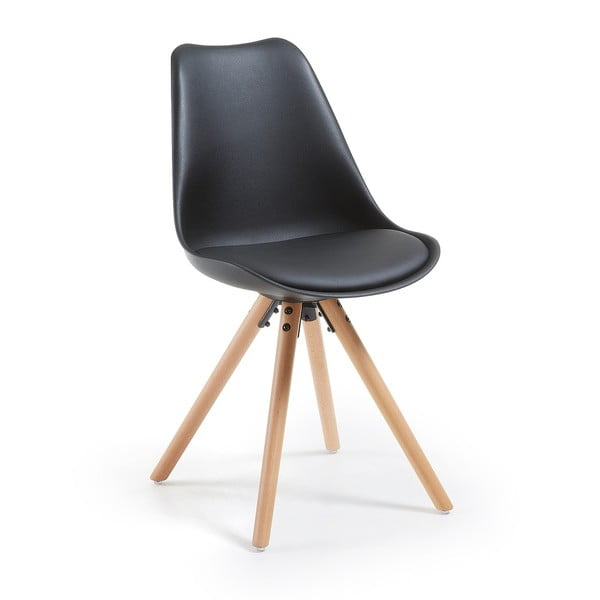 Čierna stolička s bukovými nohami loomi.design Lumos
