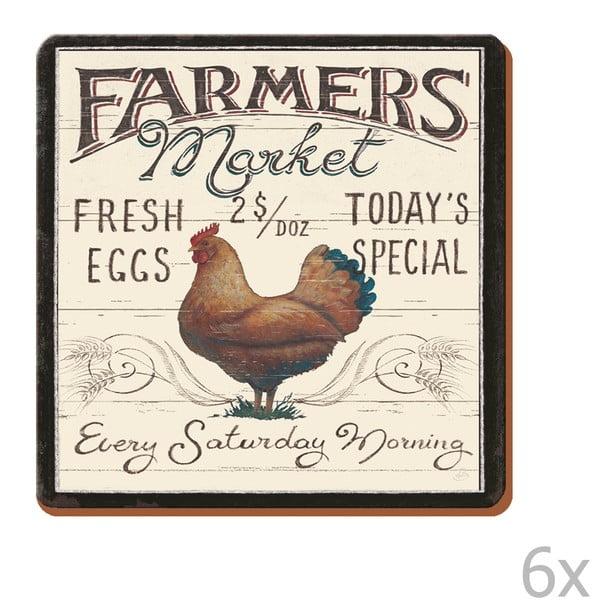 Sada 6 podtácků Farmers Market