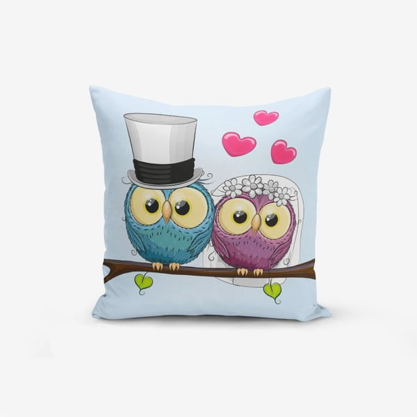 Obliečky na vaknúš s prímesou bavlny Minimalist Cushion Covers Fall In Love Owls, 45 × 45 cm