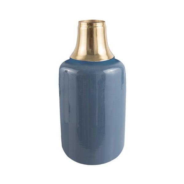 Vază cu detalii aurii PT LIVING Shine, înălțime 33 cm, albastru
