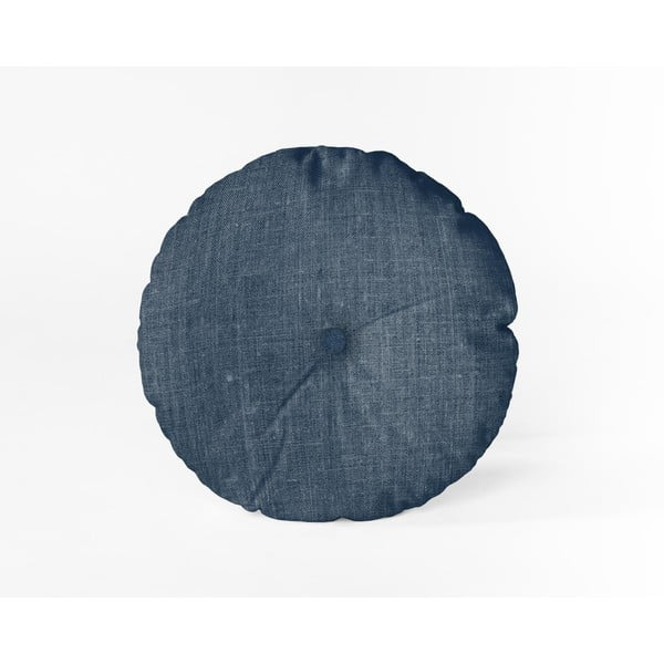 Pernă Linen Couture Cojin Redondo Blue, ⌀ 45 cm, albastru