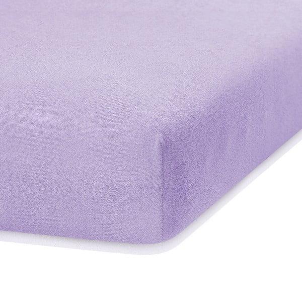 Jasnofioletowe prześcieradło elastyczne z dużym dodatkiem bawełny AmeliaHome Ruby, 200x160-180 cm