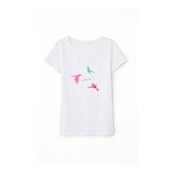 Bílé bavlněné dámské tričko KlokArt Dobrý den, vel.L